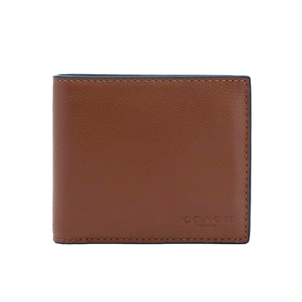 Coach Men's Compact ID Wallet In Sport Calf Leather (F74991) Dark Saddle