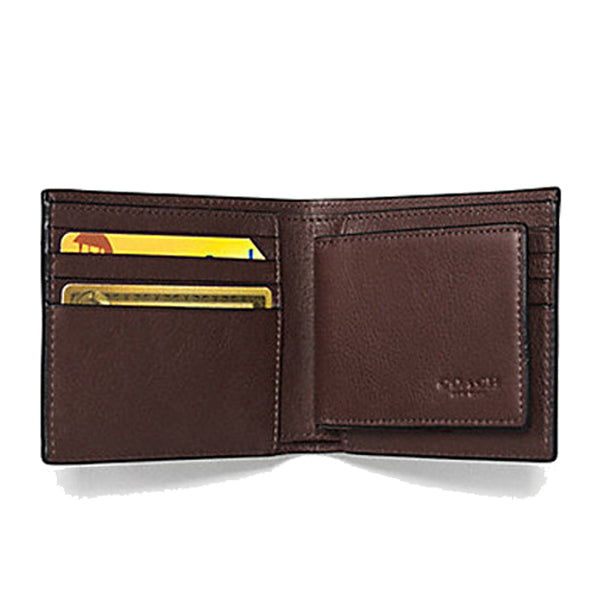 Coach Compact ID Wallet In Sport Calf Leather Mahogany (F74991)