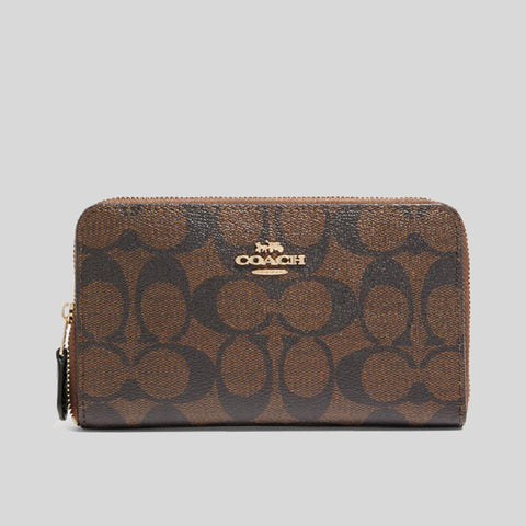 Coach Medium Zip Around Wallet In Signature Canvas Brown
