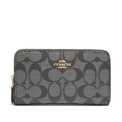 Coach Medium Zip Around Wallet In Signature Canvas Black