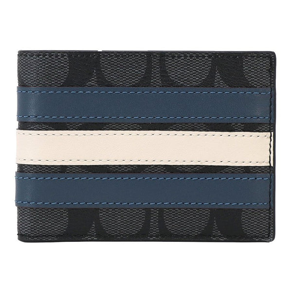 Coach Slim Billfold Wallet In Signature Canvas With Varsity Stripe (F26173)