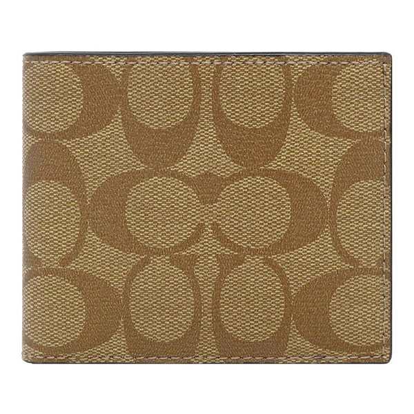 Coach ID Billfold Wallet In Signature Canvas (F66551) Tan