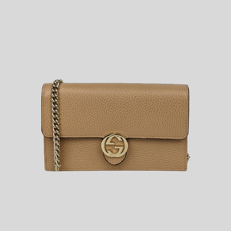 Gucci Icon GG Interlocking Wallet On Chain Crossbody Bag Beige 510314
