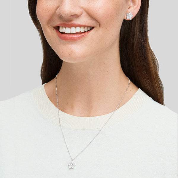 Kate Spade Blooming Pave Studs And Mini Pendant o0r00087 Silver