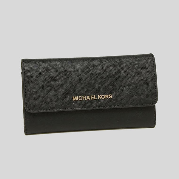 Michael Kors Jet Set Travel Large Trifold Wallet Black 35S8GTVF7L