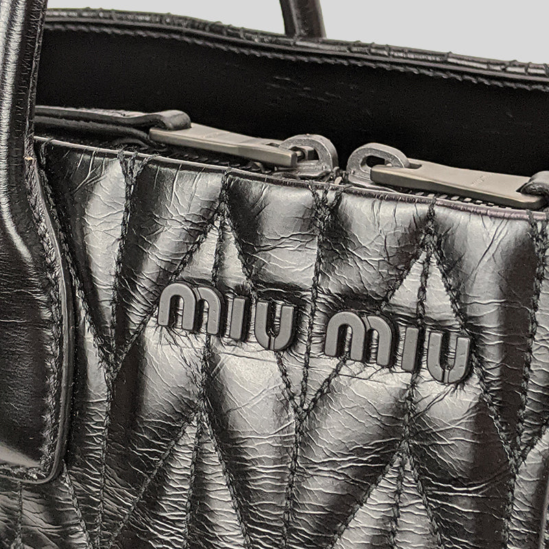 Miu Miu Shine Calf Leather Large Satchel Black 5BA161