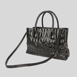 Miu Miu Shine Calf Leather Small Satchel Black 5BA162