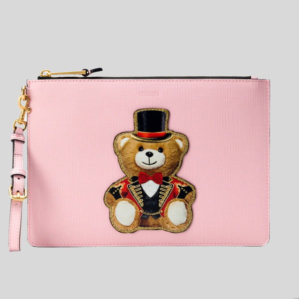 Moschino Teddy Bear Large Clutch Pink A8429