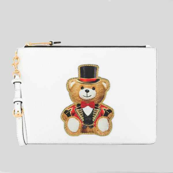 Moschino Teddy Bear Large Clutch White A8429