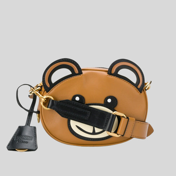 Moschino Teddy Bear Leather Crossbody Bag A7420