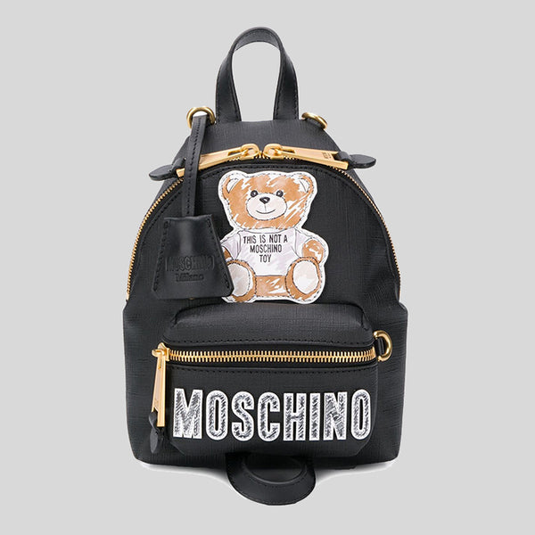 Moschino Teddy Bear Print Mini Backpack/Crossbody Bag Black A76378