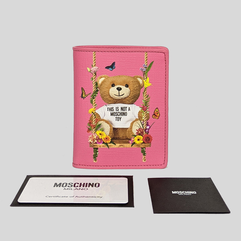 Moschino Teddy Bear Print Small Bifold Wallet Pink A8166