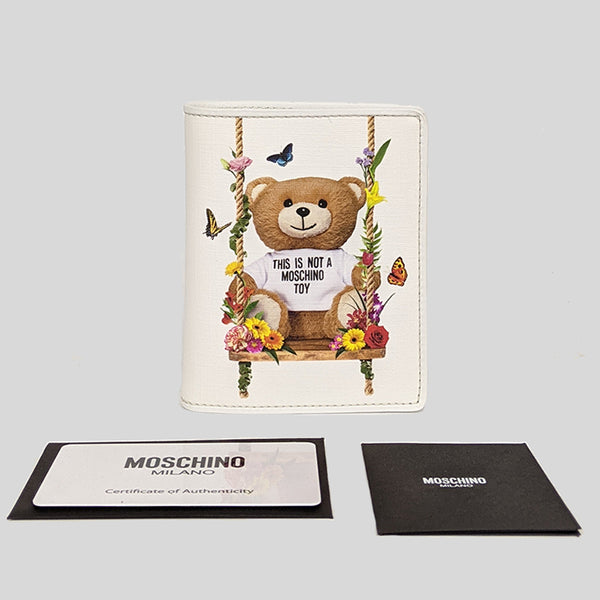 Moschino Teddy Bear Print Small Bifold Wallet White A8166