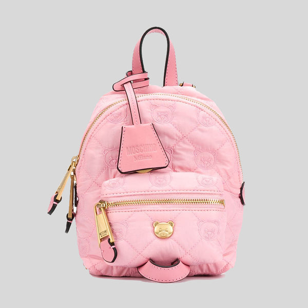 Moschino Teddy Bear Quilted Mini Backpack/Crossbody Bag Pink B7620