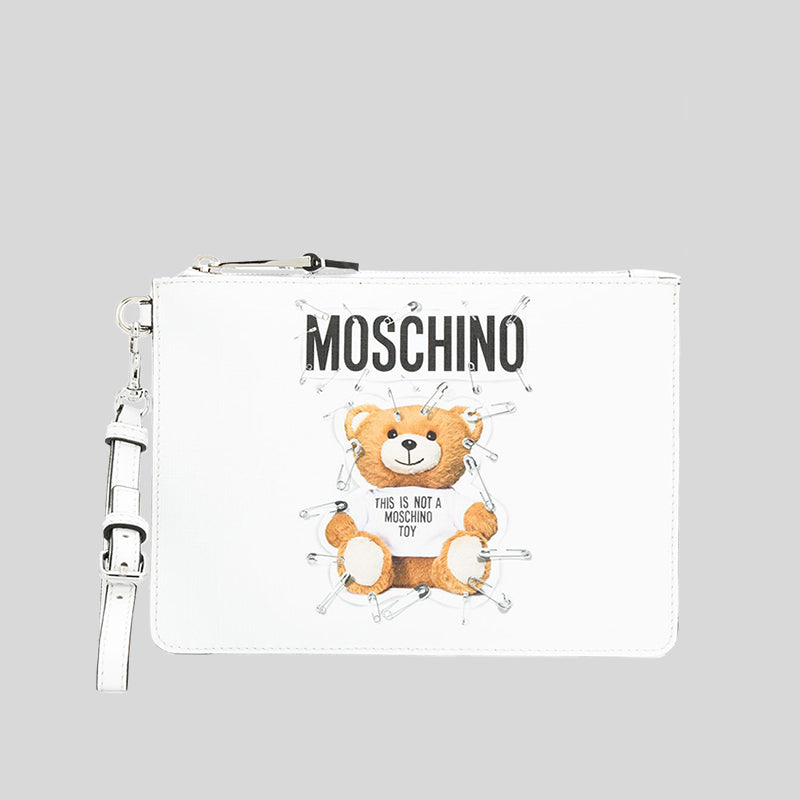 Moschino Teddy Bear Small Clutch White A8421