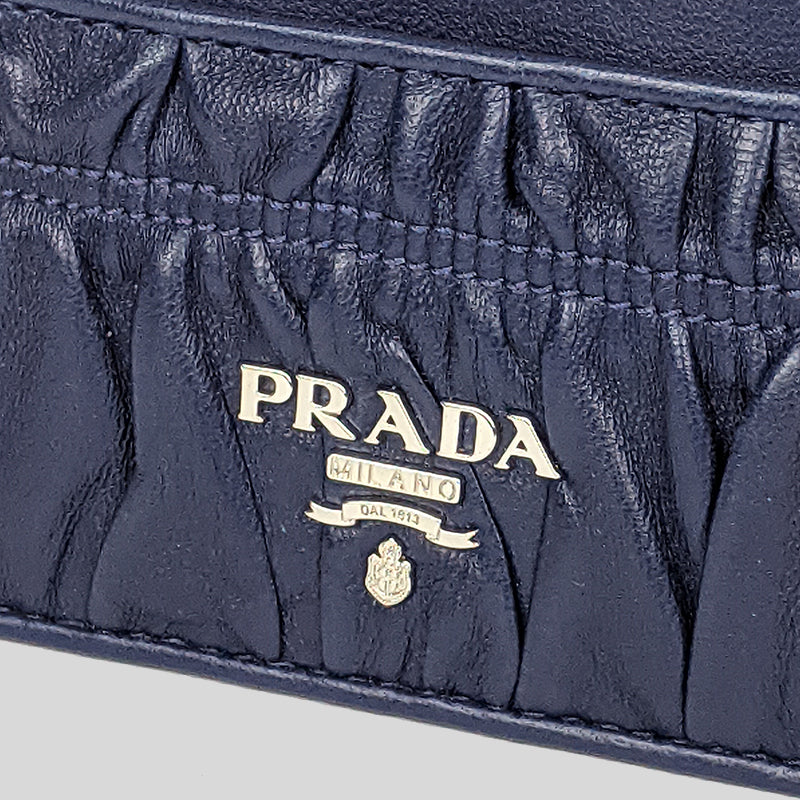 PRADA Nappa Gaufre Card Holder Bluette 1MC208