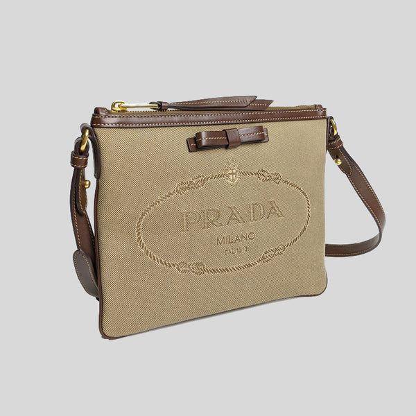 Prada Jacquard Fabric Leather Trim Logo Crossbody Handbag Corda + Bruciato 1BH150