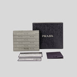 Prada Saffiano Leather Printed Logo Small Bifold Wallet Nube 1MV204