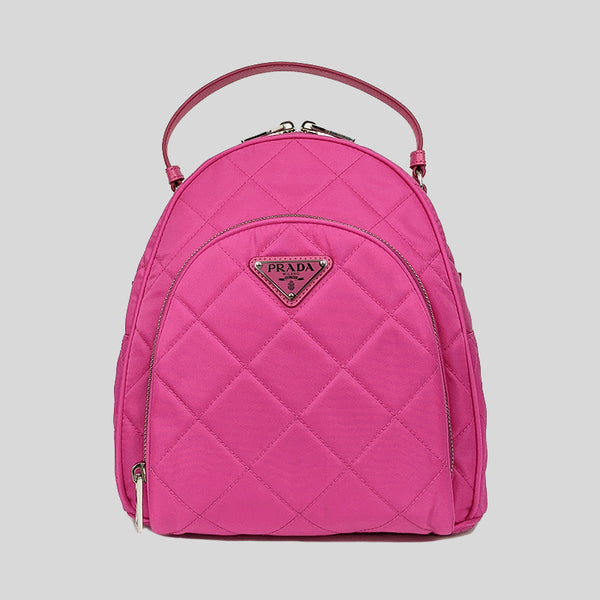 Prada Zaino Quilted Nylon Tessuto Impuntu Backpack Fuxia 1BZ066