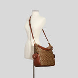Coach Pennie Shoulder Bag In Signature Canvas Khaki Redwood C1523