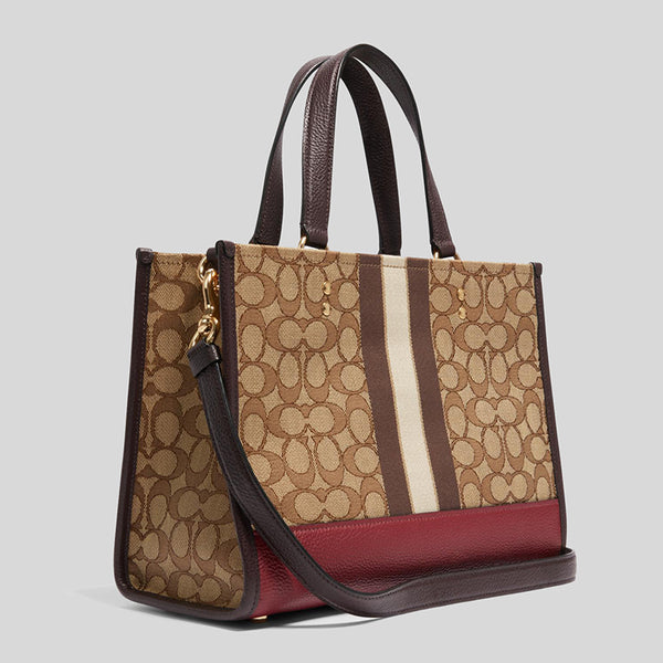 Coach Dempsey Carryall In Signature Jacquard With Stripe Aand Coach Patch Khaki Multi 4113