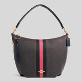 Coach Skylar Hobo With Varsity Stripe 2299 Black Electric Pink