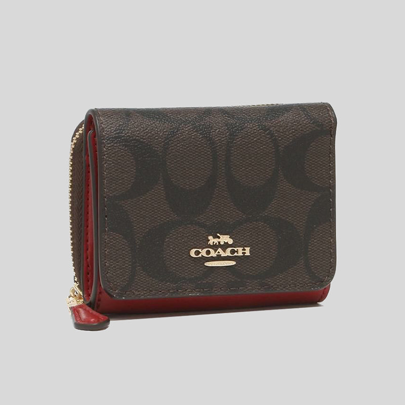 Coach Small Trifold Wallet In Signature Canvas Brown 1941 Red 7331