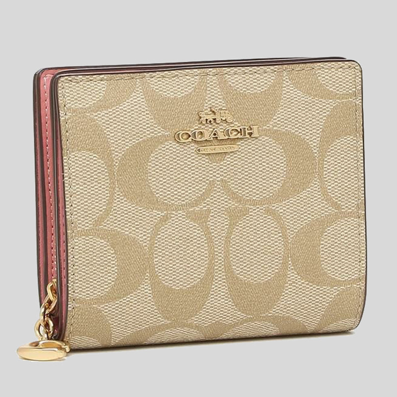 Coach Snap Wallet In Signature Canvas C3309 Light Khaki Pink
