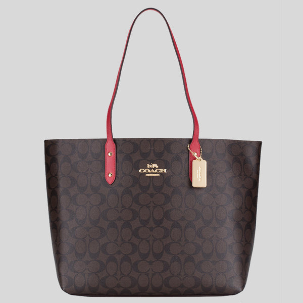 Coach Town Tote In Signature Canvas F76636 Brown True Red