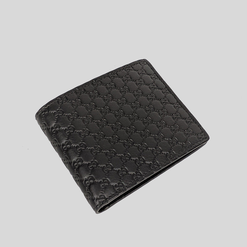 Gucci Men's Black Microguccissima GG Logo Leather Bifold Wallet 260987