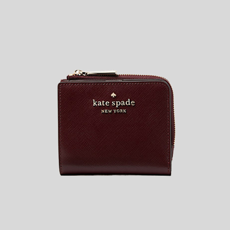 Kate Spade Staci Small L-Zip Bifold Wallet WLR00143 CherryWood