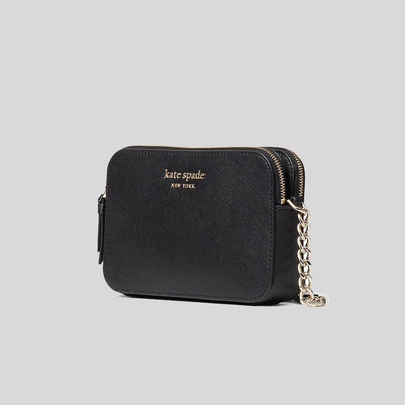 Kate Spade Cameron Double Zip Small Crossbody Black wlru6247