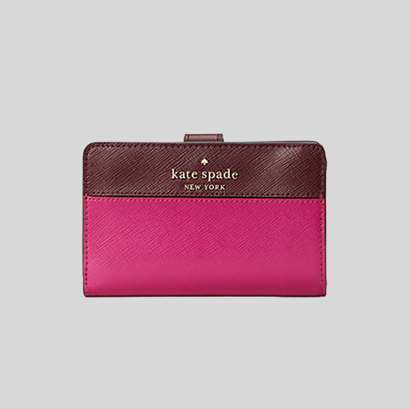 Kate Spade Staci Colorblock Medium Compact Bifold Wallet wlr00124 Pink Multi
