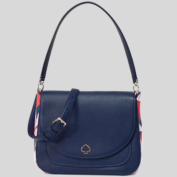 Kate Spade Kailee Tropical Toss Medium Flap Shoulder Bag Navy WKRU6816