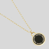 Marc Jacobs Enamel Logo Disc Pendant Necklace M0008546 Black Gold