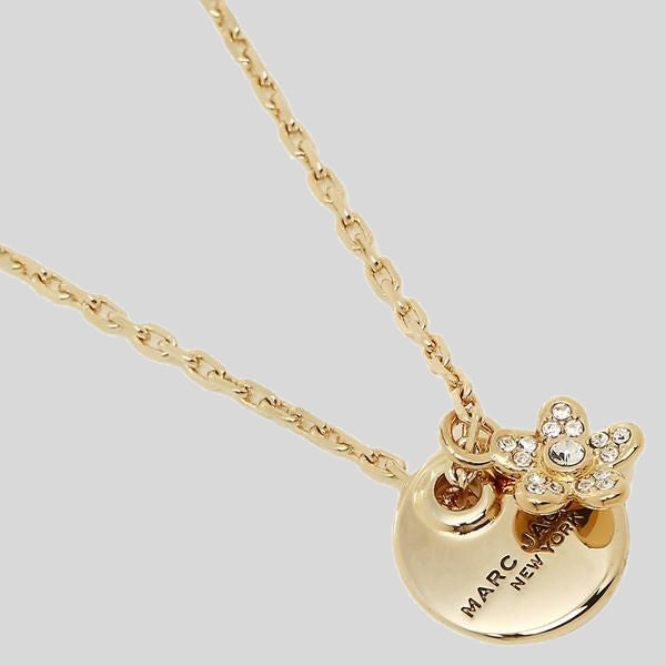 Marc Jacobs Coin Crystal Pendant Necklace M0012398 Gold