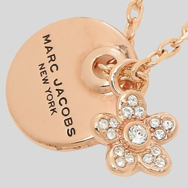 Marc Jacobs Coin Crystal Pendant Necklace M0012398 Rose Gold