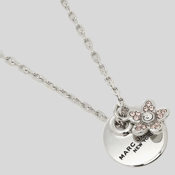 Marc Jacobs Coin Crystal Pendant Necklace M0012398 Silver