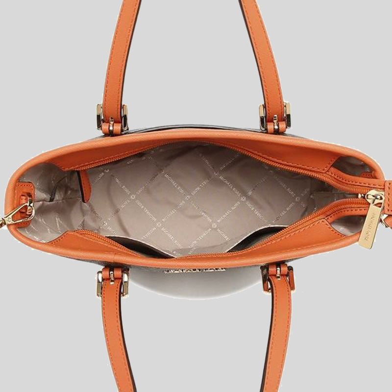 Michael Kors Jet Set Travel Extra Small Convertible Tote In Signature Canvas Tangerine 35T9GTVT0B