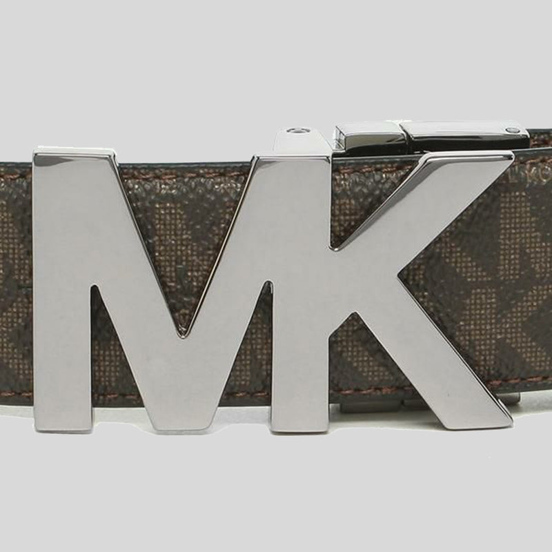 Michael Kors Mens 4-in-1 Signature Canvas Belt Gift Set Box Brown Black