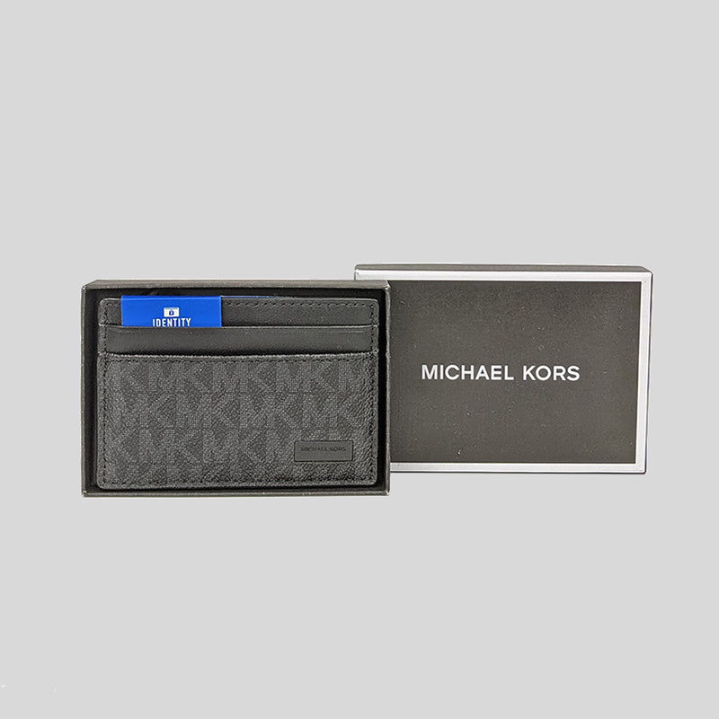 Michael Kors Jet Set Mens Signature Card Case In Gift Box 39F7XMND1B Black