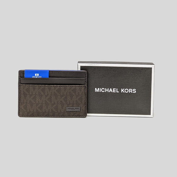 Michael Kors Jet Set Mens Signature Card Case In Gift Box 39F7XMND1B Brown