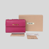 Miu Miu Madras Medium Trifold Wallet Peonia 5ML014