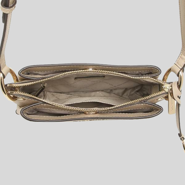 Michael Kors Nicole Large Logo Crossbody Bag In Pebbled Leather 35H9GNIC9L Bisque