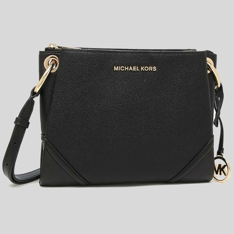 Michael Kors Nicole Large Logo Crossbody Bag In Pebbled Leather 35H9GNIC9L Black