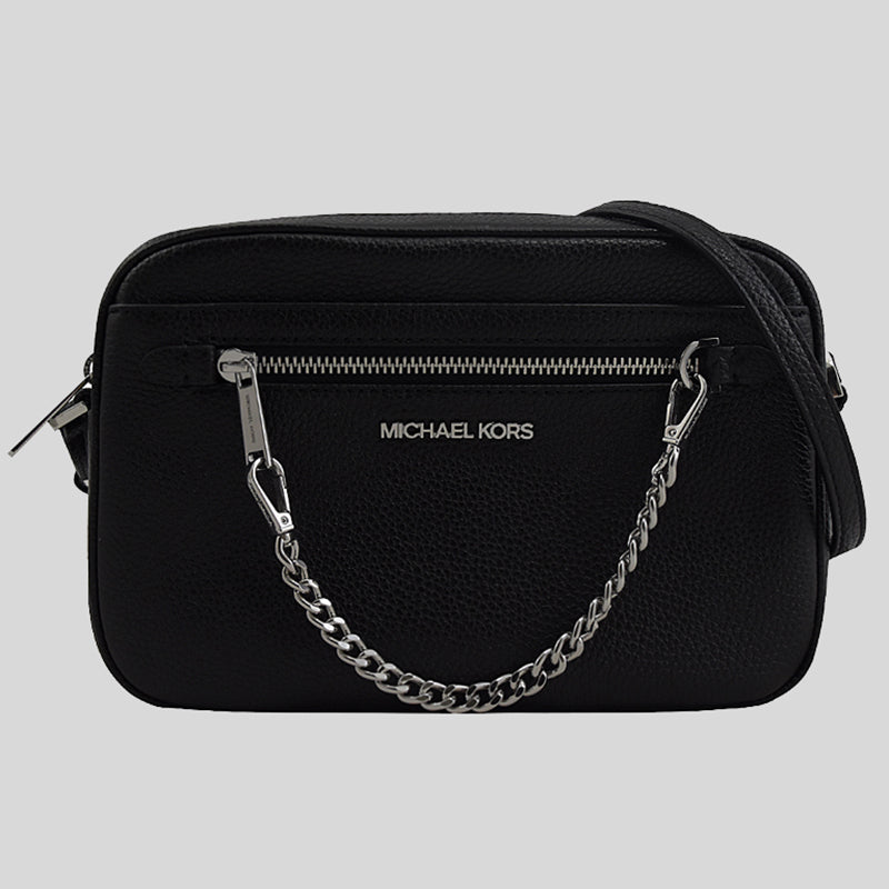 Michael Kors Large East West Zip Chain Crossbody In Pebble Leather 35S1STTC7L Black