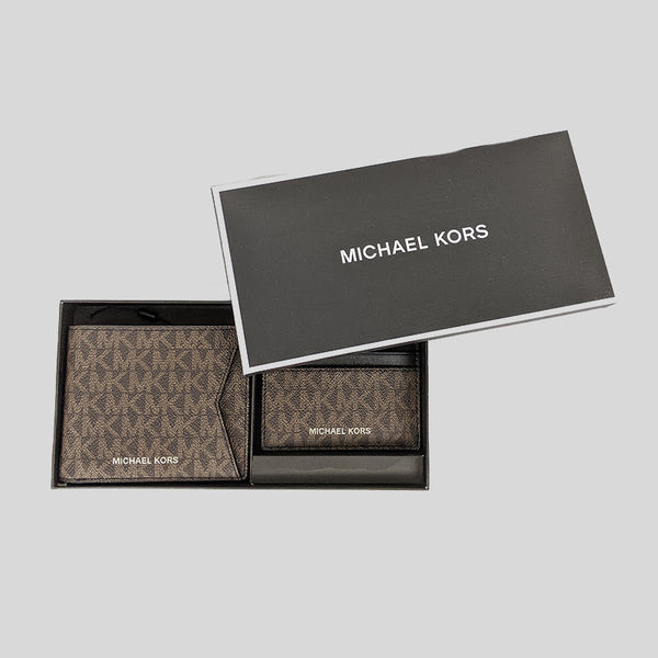Michael Kors Gifting Billfold Wallet with Card Case Gift Box Set 36H9LGFF7B Brown