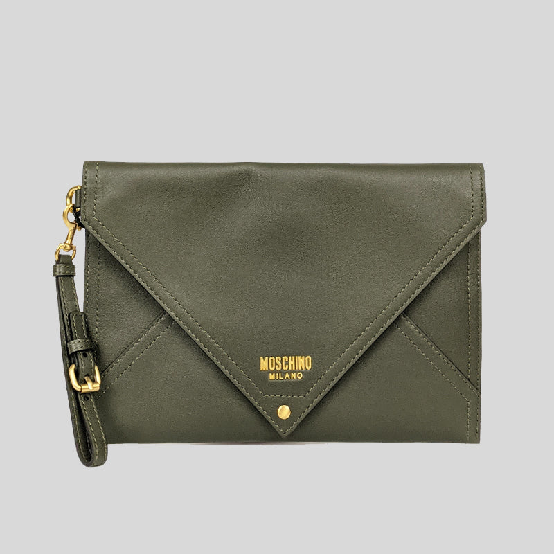 Moschino Large Clutch Army Green A8417
