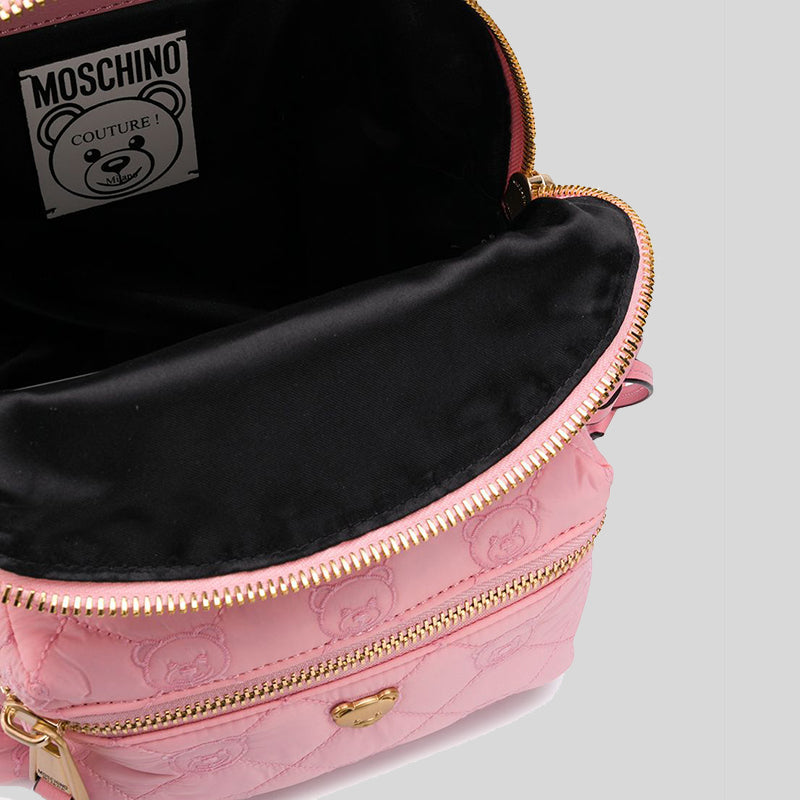 Moschino Teddy Bear Quilted Backpack Bag Pink B7621