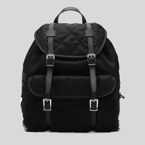 Prada Quilted Nylon Backpack with Real Rabbit Fur Silver Tone Hardware Nero 1BZ016